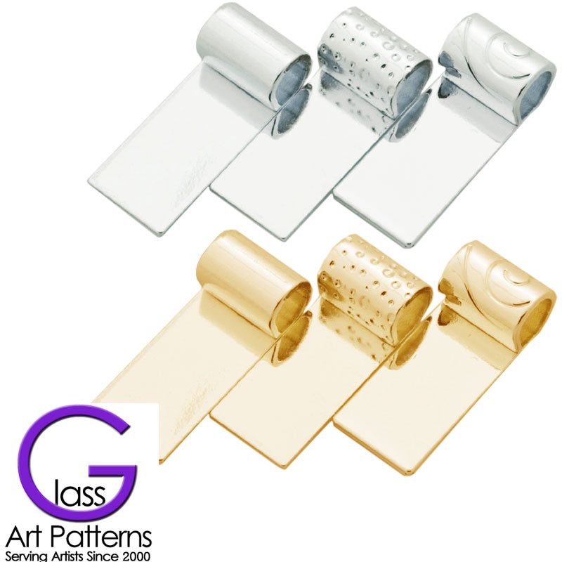 Glue on bail for fused glass jewelry tube top silver or gold jewelry bail tube top sterling silver or gold plated 3 design set for fused glass pendants mozeypictures Images