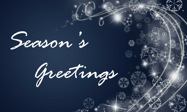 Season's Greetings with swirling snow