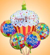 Small bundle includes 4 assorted balloons plus The Giant Cupcake