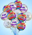 One Dozen Anniversary Mylar Balloons