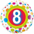 "18"" Round Foil Age 8 Colorful Dots"