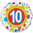 "18"" Round Foil Age 10 Colorful Dots"