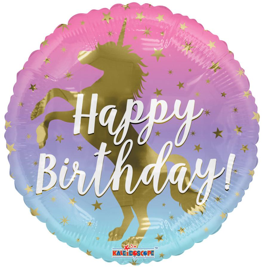 Birthday Unicorn Silhouette Round Foil Balloon