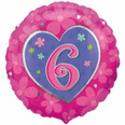 Pink Heart Happy 6th Birthday Girl Balloon