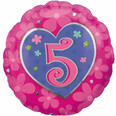 Pink Heart Happy 5th Birthday Girl Balloon