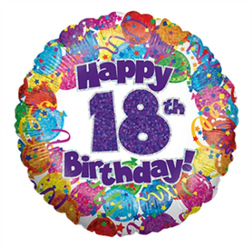 """HOLOGRAPHIC 18/"""" FOIL BALLOON AGE 9 HAPPY 9TH BIRTHDAY"""