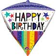 "17"" Diamondz Jumbo Happy Birthday Gold Dots Foil Balloon"