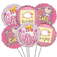 Half Dozen Baby Girl Mylar Balloon Bouquet