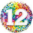 """18"""" 12th Birthday Rainbow Confetti"""
