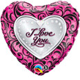 I Love You Sparkle Filigree Mylar Balloon