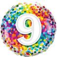 """18"""" 9th Birthday Rainbow Confetti"""
