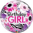 "22"" Birthday Girl Floral Zebra Stripes Bubble Balloon"