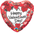 "18"" Valentine's Day Sketched Hearts Mylar Balloon"