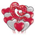 Swirley Open Heart Happy Valentine's Day Balloon Bouquet