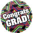 """18"""" Congrats Grad Multi Colored Star Pattern"""