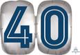 "25"" SuperShape Silver/Blue Number 40 Foil Balloon"