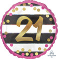 "18"" Pink & Gold Milestone 21 Foil Balloon"
