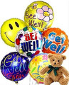 Plush Bear with Half Dozen Get Well Balloons