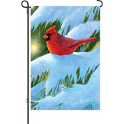 12 in. Flag - Winter Glow Cardinal