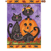 28 in. Flag - Three Black Cats
