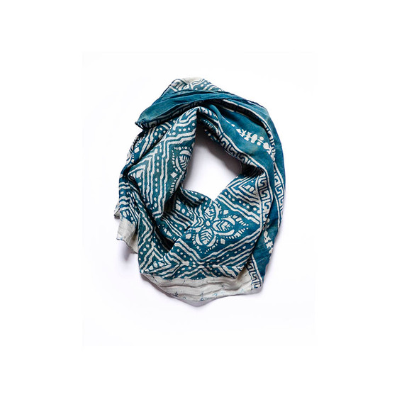 hand block printed green scarf - designed & printed by artisan: Babu