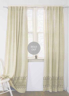 Border Creme Gold Curtain (30% off)