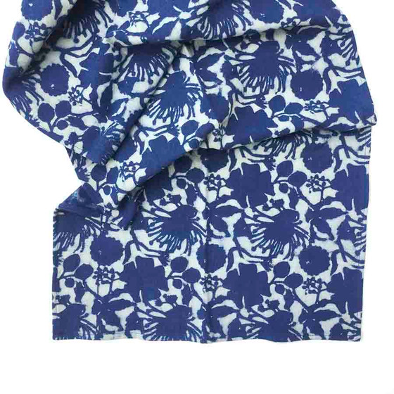 floral indigo blue table runner