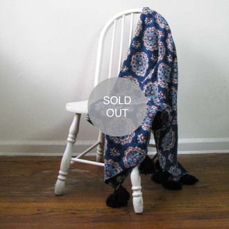 Suzani blue throw
