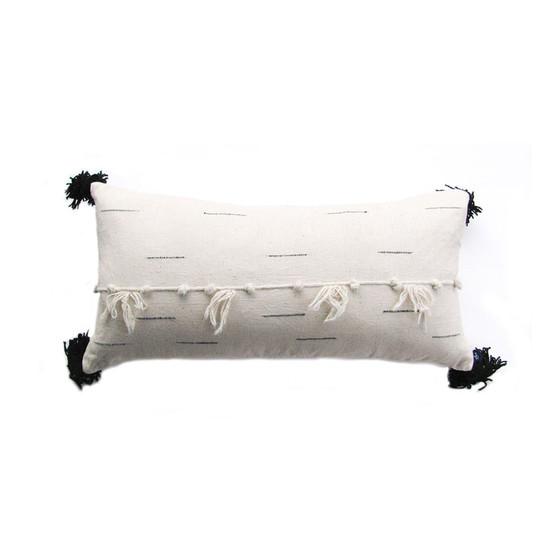 black and white large tassel pillow