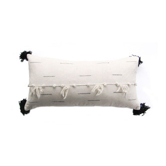 black and white large tassel pillow