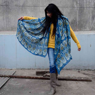 blue and gold color scarf