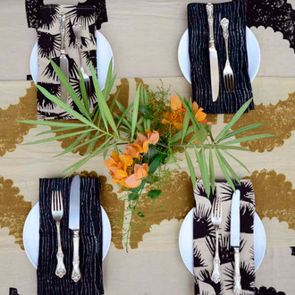 black and beige napkins