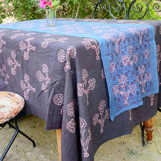 boho purple and blue table top