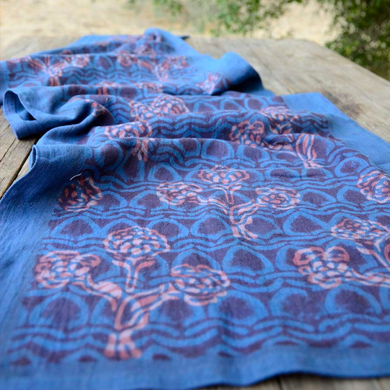 indigo red bohemian table runner