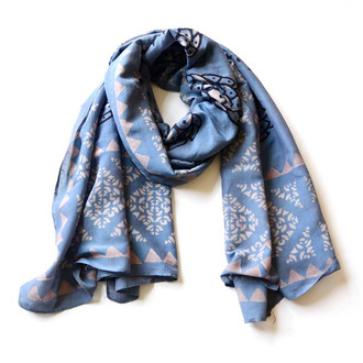 large blue hand block printed scarf
