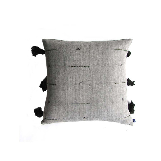 grey tassel reversible pillow