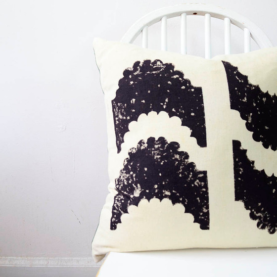 reversible block print pillow