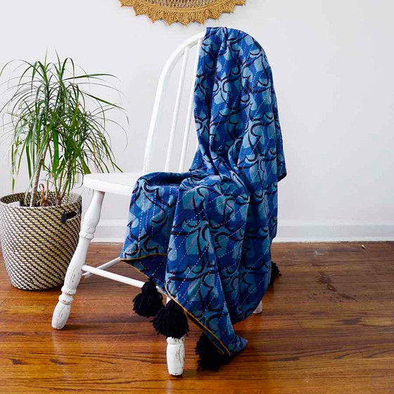 indigo organic cotton throw