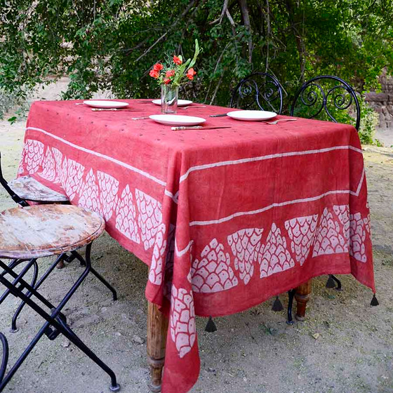 red block printed tablecloth