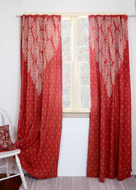 red window curtains