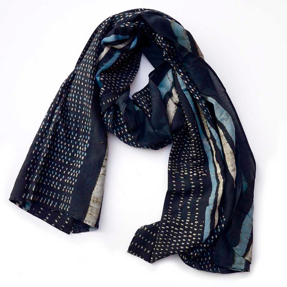 Black white and blue scarf