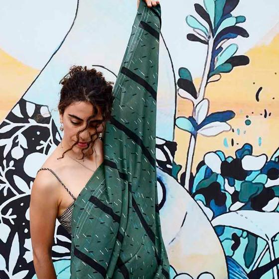 large green block printed scarf