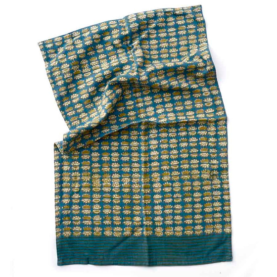 teal sunflower dish towel