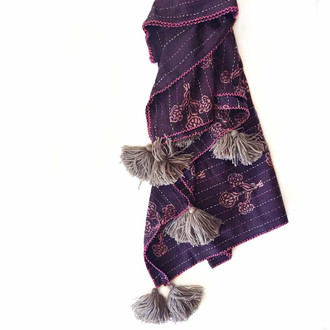 purple organic cotton throw blanket