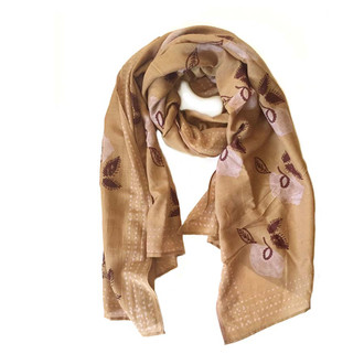 mustard pink floral sustainable fashion scarf