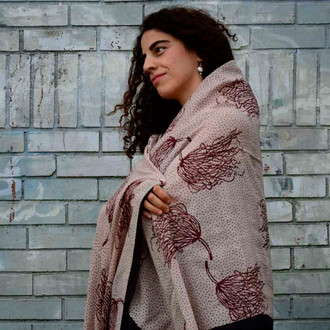 sustainable fashion ivory red scarf