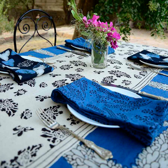 indian indigo table linens