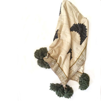 kantha unique handmade throw with tassels