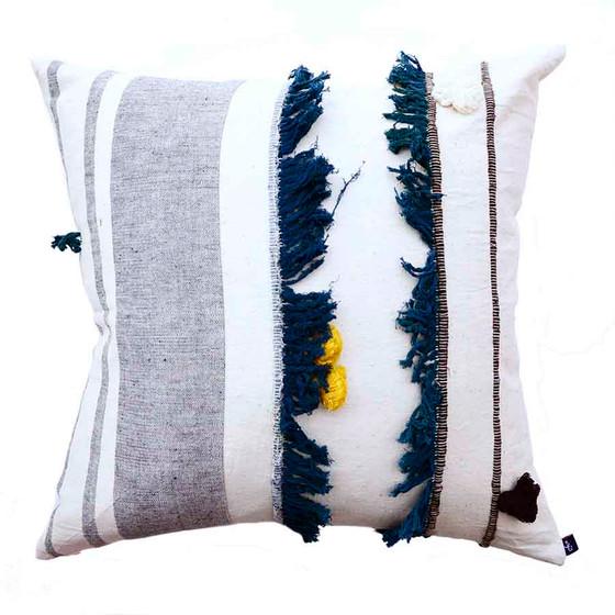 20 inch grey white textured pillow