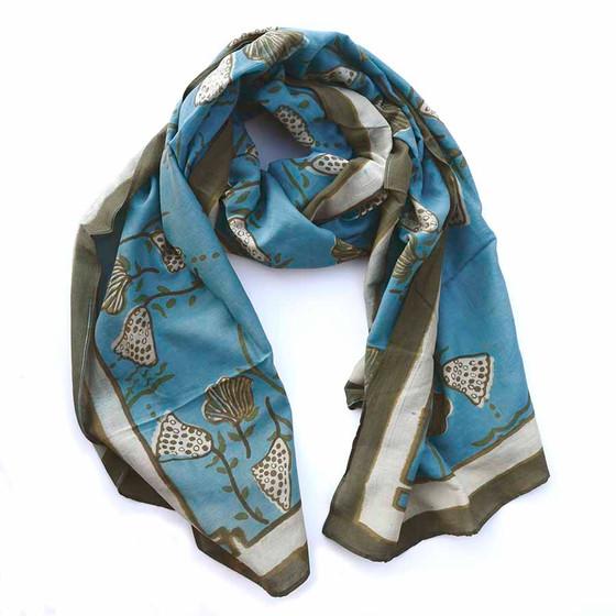 sea blue block print scarf